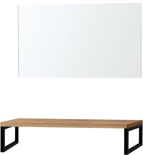 Tablette Chene Massif 120cm A Poser Avec Miroir