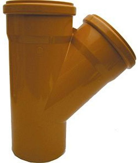 PVC T RIOOL 200MM 45° ROOD/BRUIN