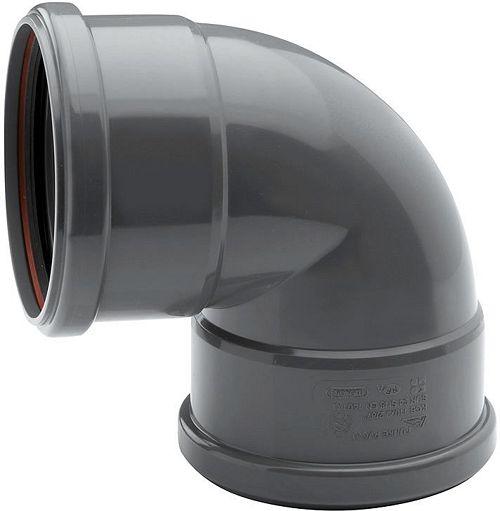 PVC ELLEBOOG 90° RIOOL 125MM FF GRIJS