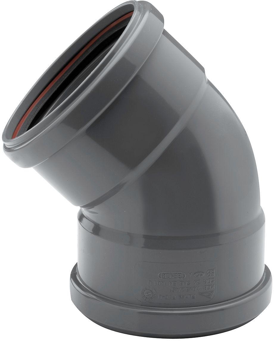 COUDE PVC 45° EGOUT 125MM FF GRIS