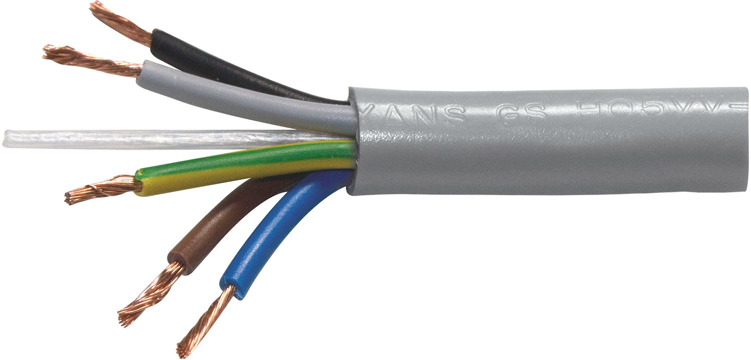 CABLE ELECTR.H05VV-F 5G 0,75MM²ROUL.100M